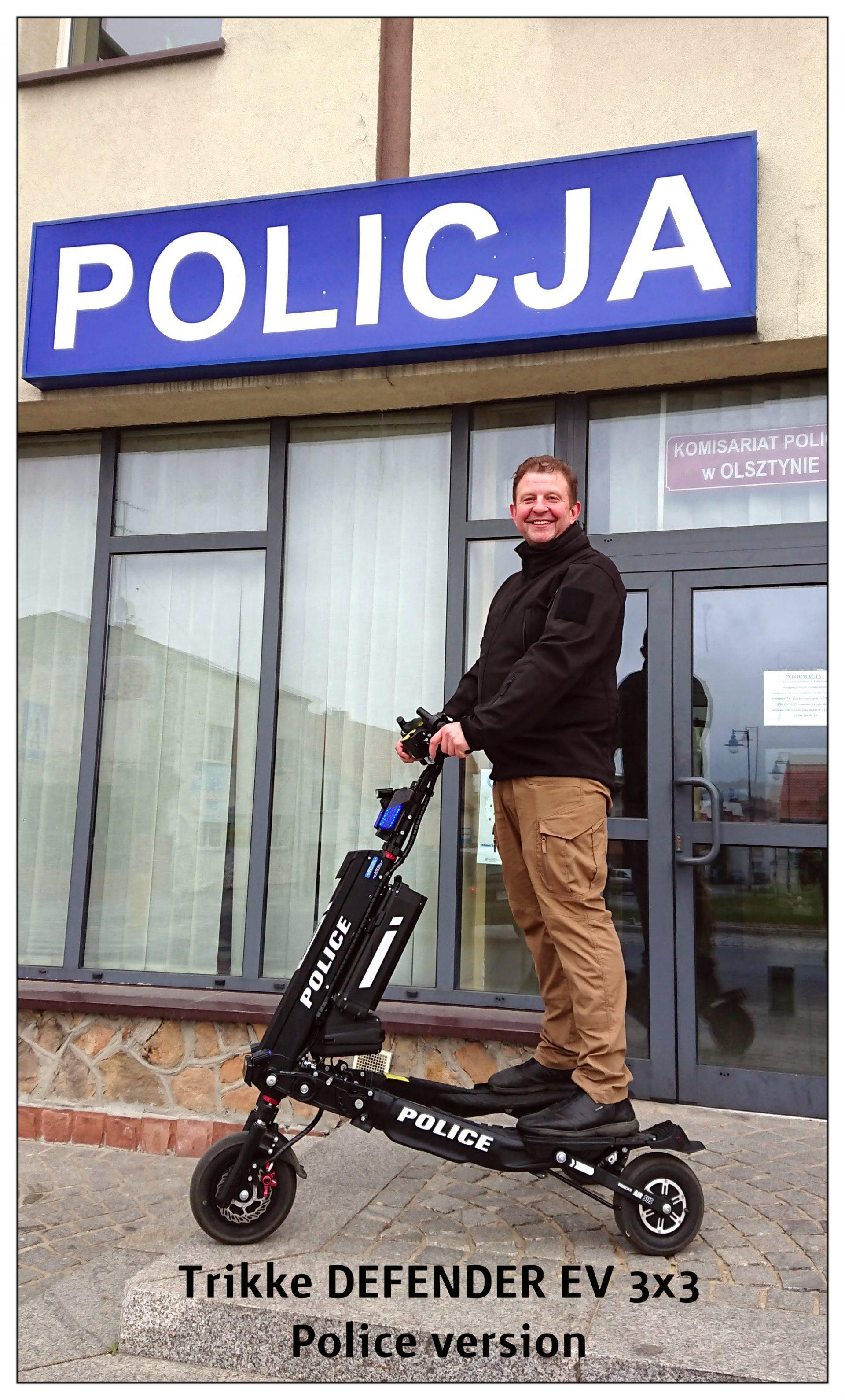 Defender, schody, jazda właściwości. Policja, Ochrona, Security. Trikke EV 3×3.